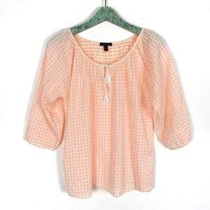 J. Crew Blouse Tassels Small 3/4 Sleeve